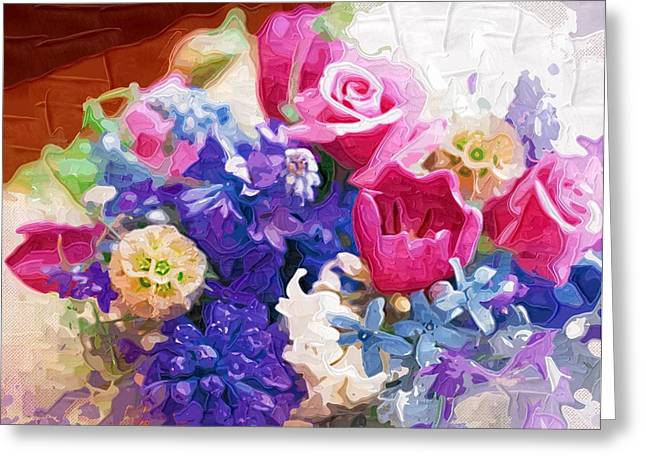 Close Up Paintings Greeting Cards - Decorative Painting Flowers Greeting Card by Victor Gladkiy
