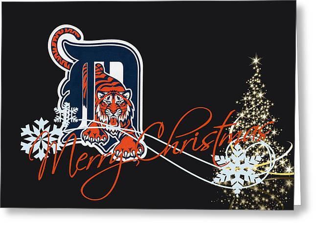 Santa Greeting Cards - Detroit Tigers Greeting Card by Joe Hamilton