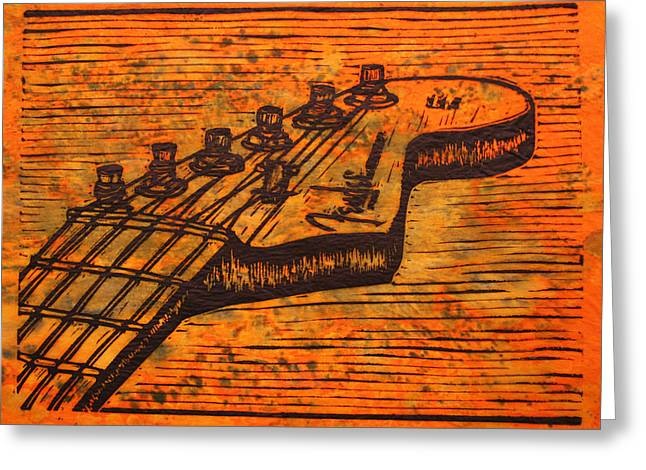 Lino Drawings Greeting Cards - Fender Strat Greeting Card by William Cauthern