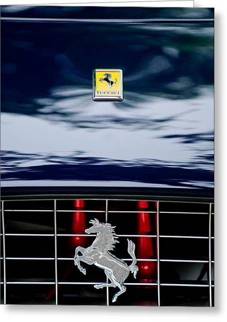 Vintage Hood Ornament Greeting Cards - Ferrari Hood Emblem Greeting Card by Jill Reger