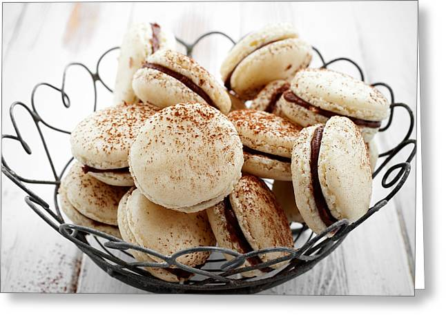 Cake Stand Greeting Cards - French macaroons Greeting Card by Kati Molin