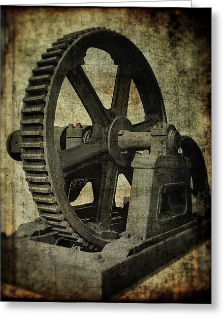 Axle Gear Greeting Cards - 8 ft DIAMETER INDUSTRIAL GEAR Greeting Card by Daniel Hagerman
