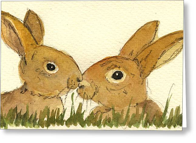 Hare Greeting Cards - Hare Greeting Card by Juan  Bosco