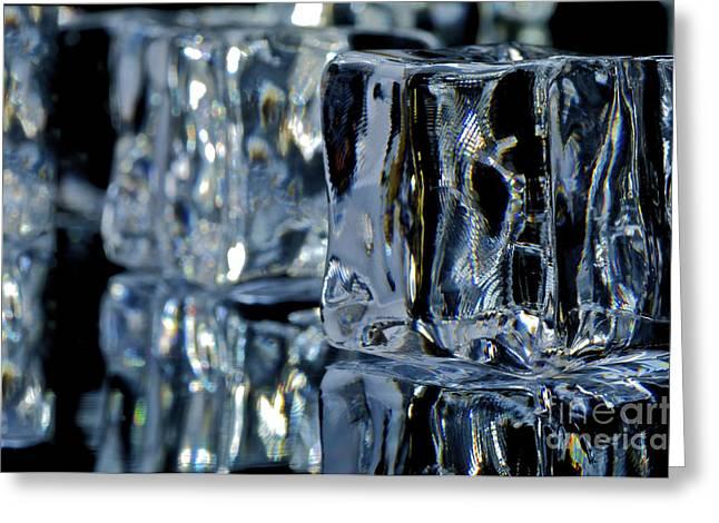 Drip Greeting Cards - Ice Cubes Macro Greeting Card by Aleksey Tugolukov