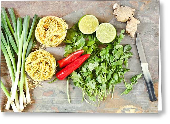 Healthy Herbs Greeting Cards - Ingredients Greeting Card by Tom Gowanlock