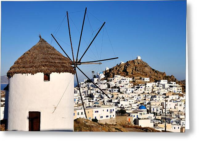Tradition Greeting Cards - Ios town and windmill Greeting Card by George Atsametakis