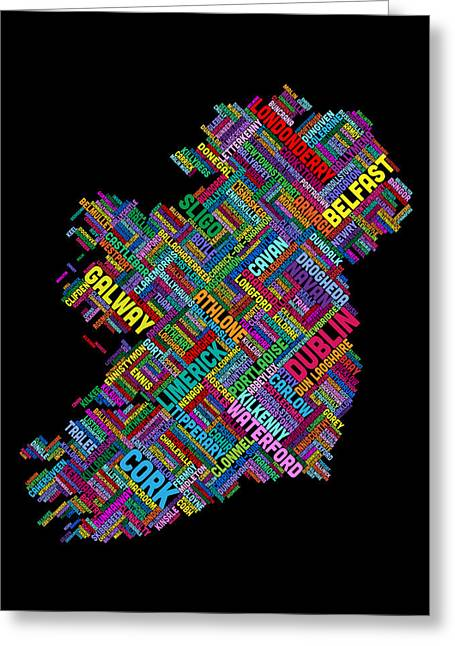 Cartography Digital Greeting Cards - Ireland Eire City Text map Greeting Card by Michael Tompsett