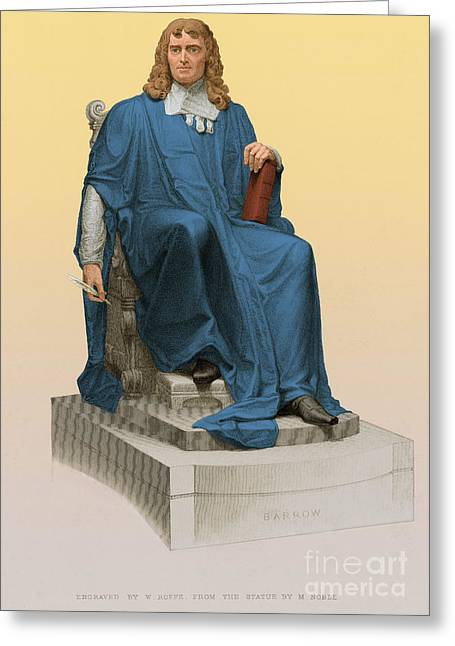 Statue Portrait Greeting Cards - Isaac Barrow, English Mathematician Greeting Card by Science Source