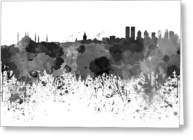 Istanbul Greeting Cards - Istanbul skyline in watercolor on white background Greeting Card by Pablo Romero