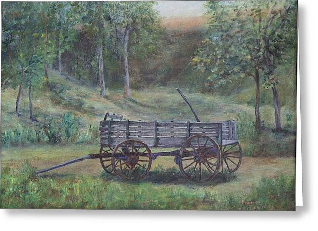 Wooden Wagons Paintings Greeting Cards - Wagon Wheel Greeting Card by Frances Lewis