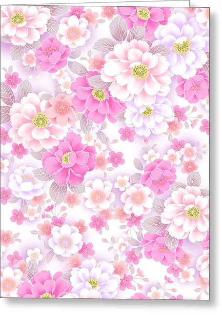 Still Life Photographs Paintings Greeting Cards - Japan flowers Greeting Card by LoveMap