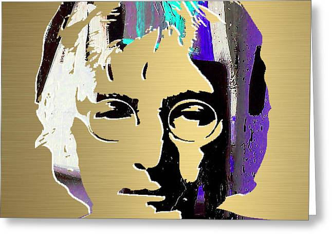John Greeting Cards - John Lennon Gold Series Greeting Card by Marvin Blaine