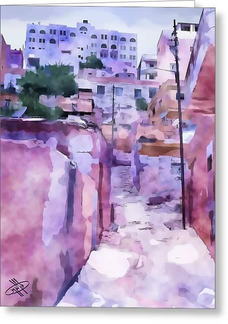 Petra - Jordan Digital Art Greeting Cards - Jordan/Amman/stairs Greeting Card by Fayez Alshrouf