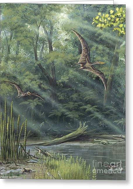 Gallic Greeting Cards - Jurassic Life, Artwork Greeting Card by Richard Bizley