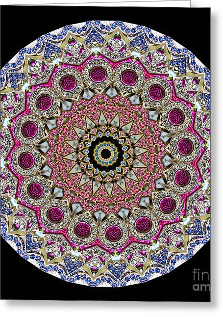 Jewelry Greeting Cards - Kaleidoscope Colorful Jeweled Rhinestones Greeting Card by Amy Cicconi