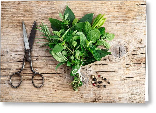 Prepared Greeting Cards - Kitchen Herbs Greeting Card by Nailia Schwarz