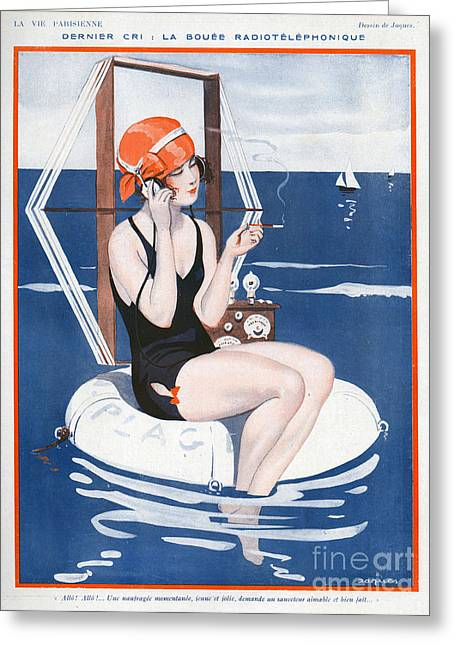Swimsuits Swimming Costumes Greeting Cards - La Vie Parisienne  1923 1920s France Greeting Card by The Advertising Archives