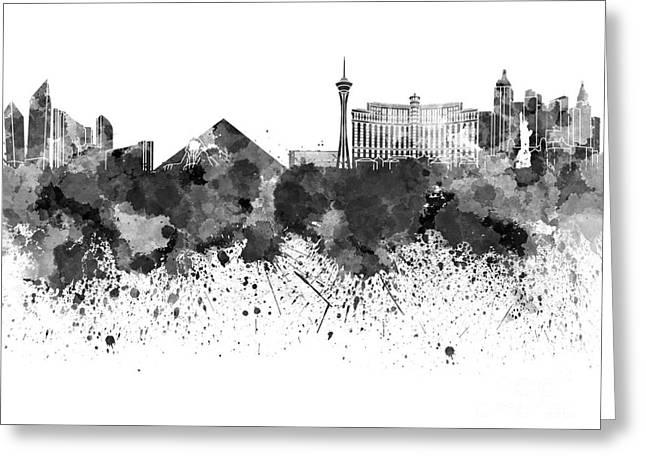 Las Vegas Art Greeting Cards - Las Vegas skyline in watercolor on white background Greeting Card by Pablo Romero