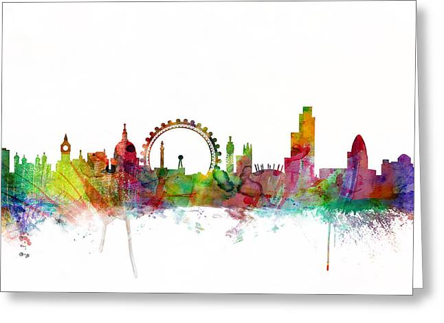 Skyline Greeting Cards - London England Skyline Greeting Card by Michael Tompsett