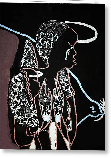 Ugandan Ceramicist Ceramics Greeting Cards - Madonna and Child Greeting Card by Gloria Ssali