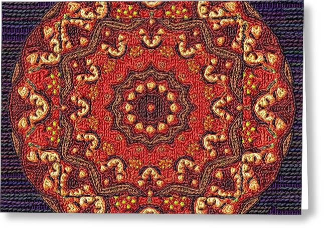 Tapestry Wool Greeting Cards - Mandala Greeting Card by Victor Gladkiy