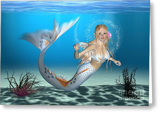 Floating Girl Greeting Cards - Mermaid Greeting Card by Design Windmill