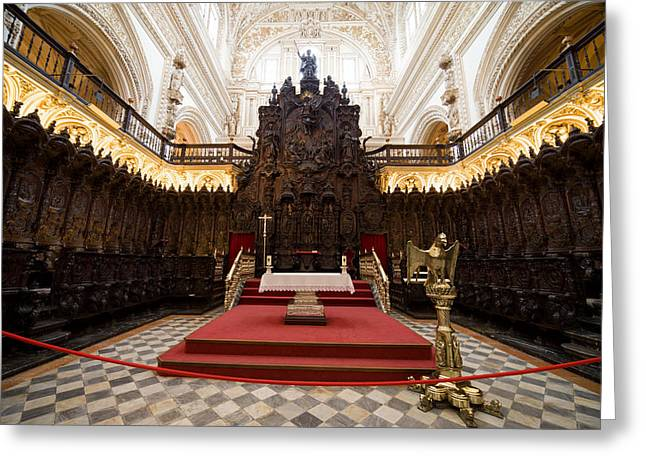 Wooden Sculpture Greeting Cards - Mezquita Cathedral Interior in Cordoba Greeting Card by Artur Bogacki