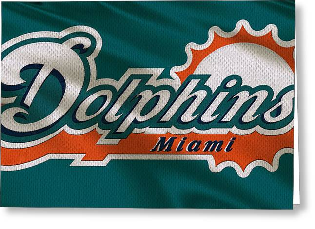 Team Greeting Cards - Miami Dolphins Uniform Greeting Card by Joe Hamilton