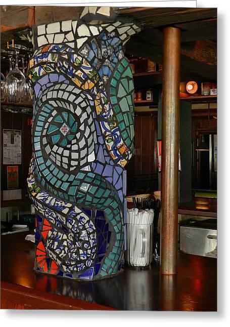 Mosaic Ceramics Greeting Cards - Mosaic Pillar Greeting Card by Charles Lucas