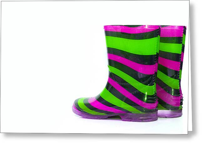 Black Boots Greeting Cards - Multi Coloured wellington Boots on white with copy space Greeting Card by Fizzy Image