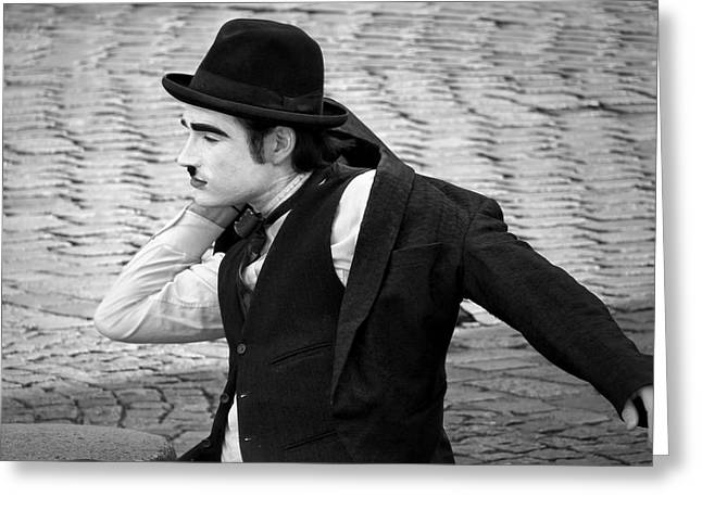 Mimes Greeting Cards - #8 One Last Thing - French Mime Greeting Card by Nikolyn McDonald