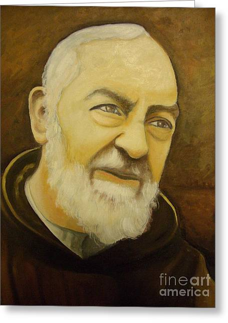 Etc. Paintings Greeting Cards - Padre Pio Greeting Card by Matteo TOTARO