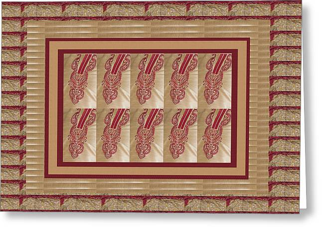 Christmas Art Greeting Cards - Patterns Textures Golden Checks Decorations for every beautiful wall and ideal to download and use f Greeting Card by Navin Joshi