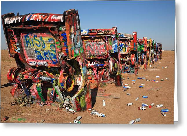 West Tx Greeting Cards - Route 66 - Cadillac Ranch Greeting Card by Frank Romeo