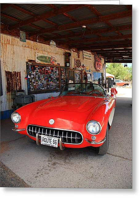 Route 66 Corvette Greeting Card by Frank Romeo