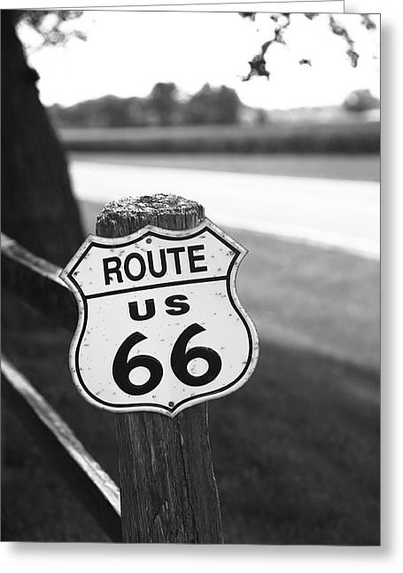 Small Town Prints Greeting Cards - Route 66 Shield Greeting Card by Frank Romeo