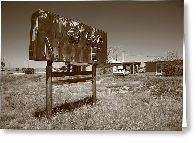 Historic Home Greeting Cards - Route 66 - Western Motel Greeting Card by Frank Romeo