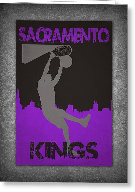 Recently Sold -  - Dunk Greeting Cards - Sacramento Kings Greeting Card by Joe Hamilton