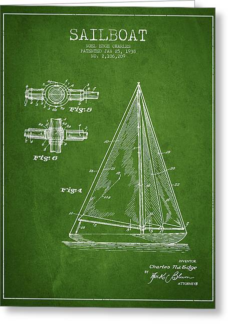 Sailboat Digital Greeting Cards - Sailboat Patent Drawing From 1938 Greeting Card by Aged Pixel