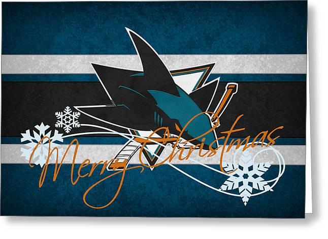 Skates Greeting Cards - San Jose Sharks Greeting Card by Joe Hamilton