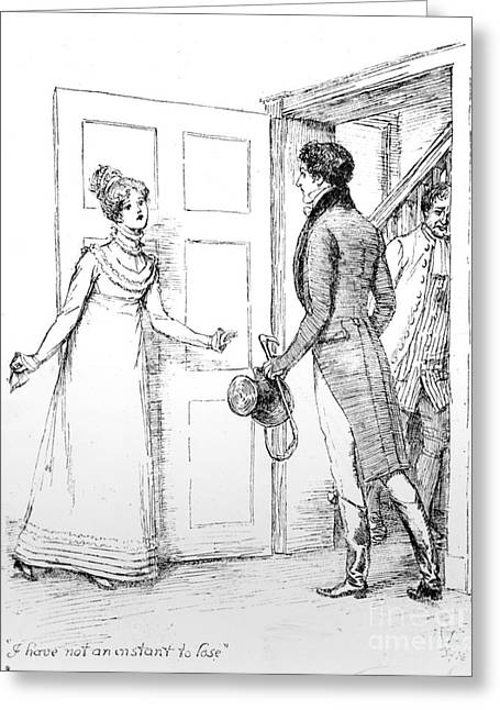 I Greeting Cards - Scene from Pride and Prejudice by Jane Austen Greeting Card by Hugh Thomson