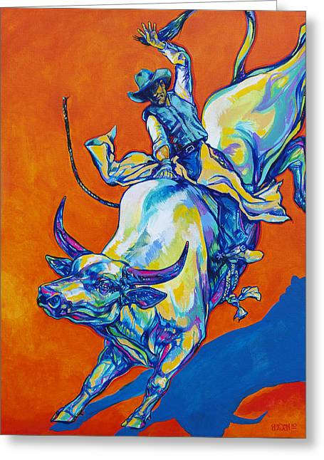 Bull Rider Greeting Cards - 8 Second Insanity Greeting Card by Derrick Higgins