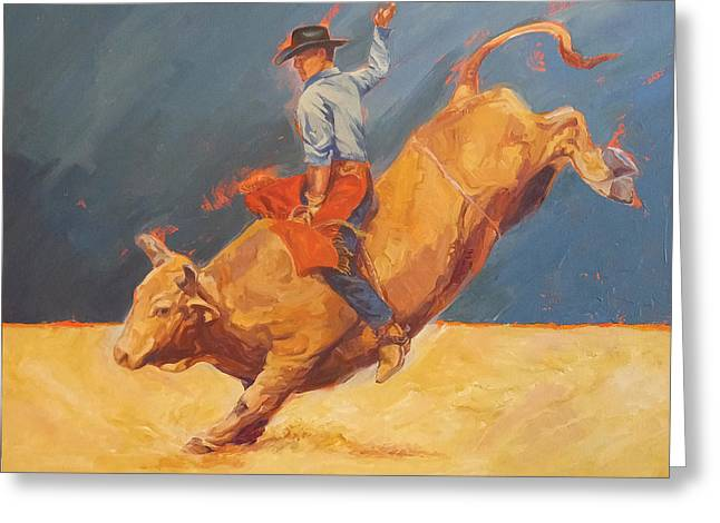 Bull Rider Greeting Cards - 8 Seconds and Counting Greeting Card by Shawn Shea