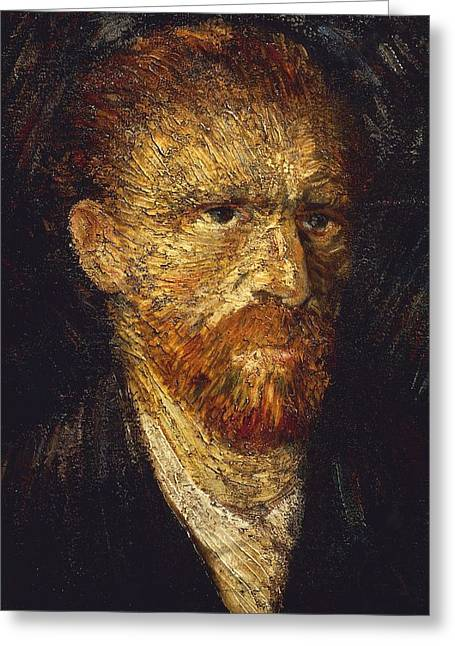 Neo Impressionism Greeting Cards - Self-Portrait Greeting Card by Vincent van Gogh