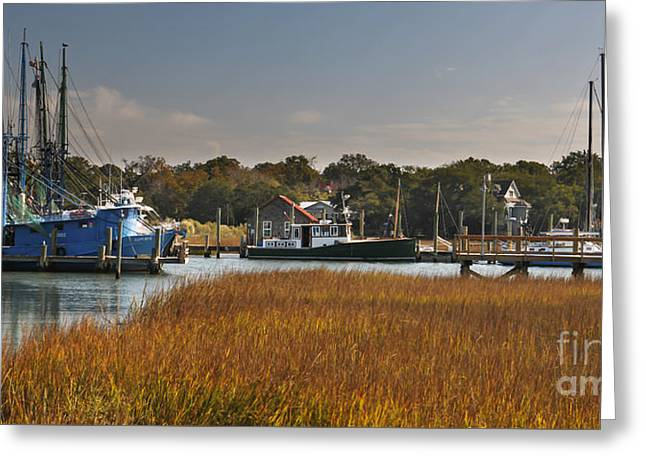 Mt. Pleasant Sc Greeting Cards - Shem Creek Maritime Greeting Card by Dale Powell