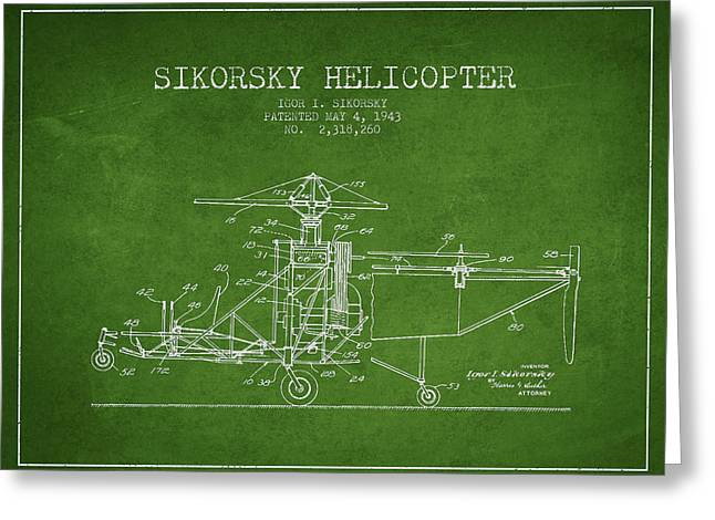 Sikorsky Helicopter Patent Drawing From 1943 Greeting Card by Aged Pixel
