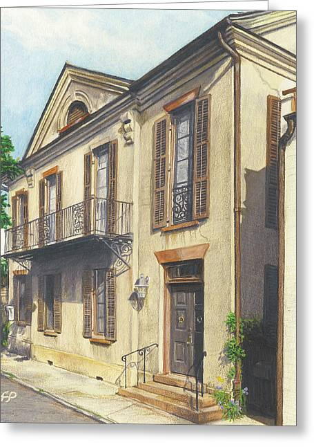 Charleston Drawings Greeting Cards - 8 St. Michaels Alley Greeting Card by Stephen Paul Herchak