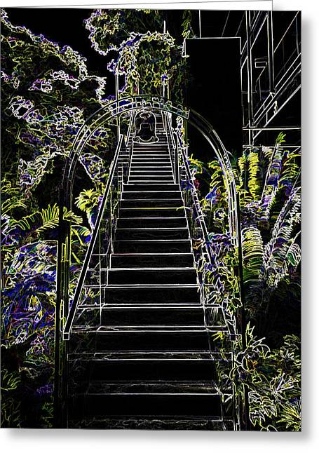 Greenery Greeting Cards - Staircase leading to a higher level in Siloso Hotel in Sentosa Greeting Card by Ashish Agarwal