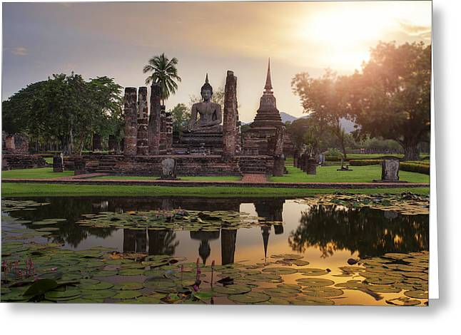 Water Lilly Greeting Cards - Sukhothai historical park Greeting Card by Anek Suwannaphoom