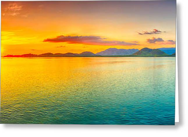 Sunset Panorama Greeting Card by MotHaiBaPhoto Prints